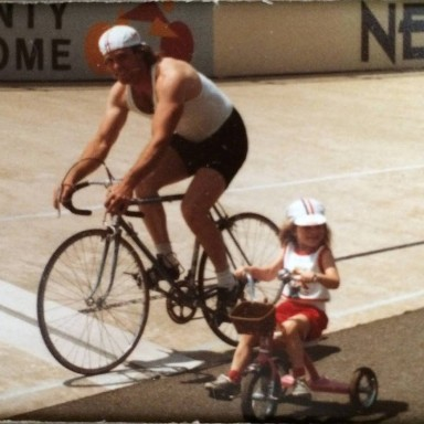 Scott at Lehigh County Velodrome, circa 1980's. With daughter Rachel ... his pride and joy.